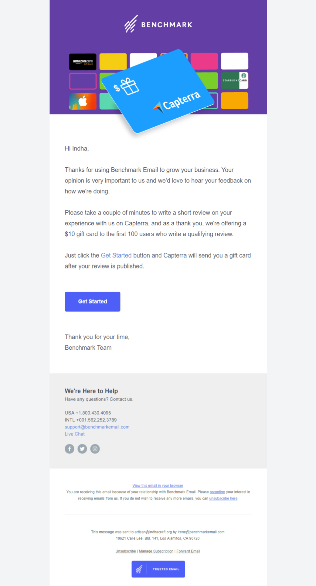Benchmark Email's Review Request email